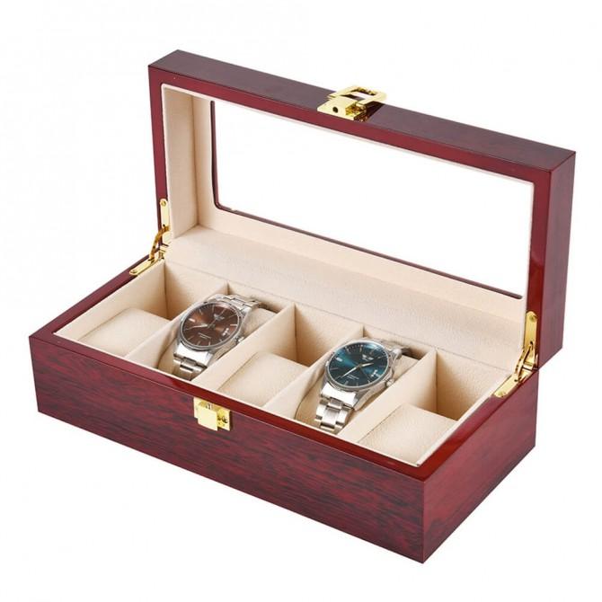 Jqueen Wooden Watch Box, 5 Slots Display Case
