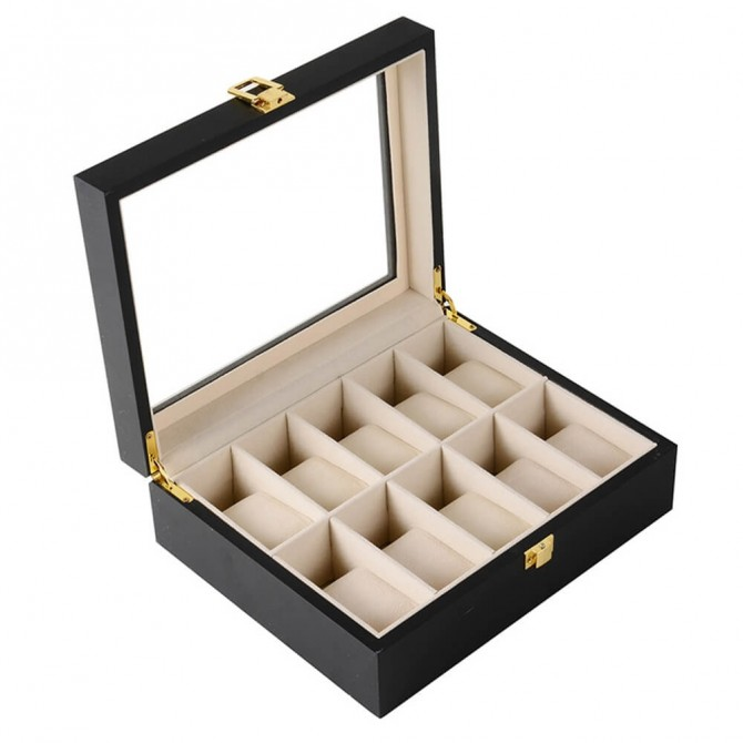 Sepano Wooden Watch Box for Men With 10 Slot Black