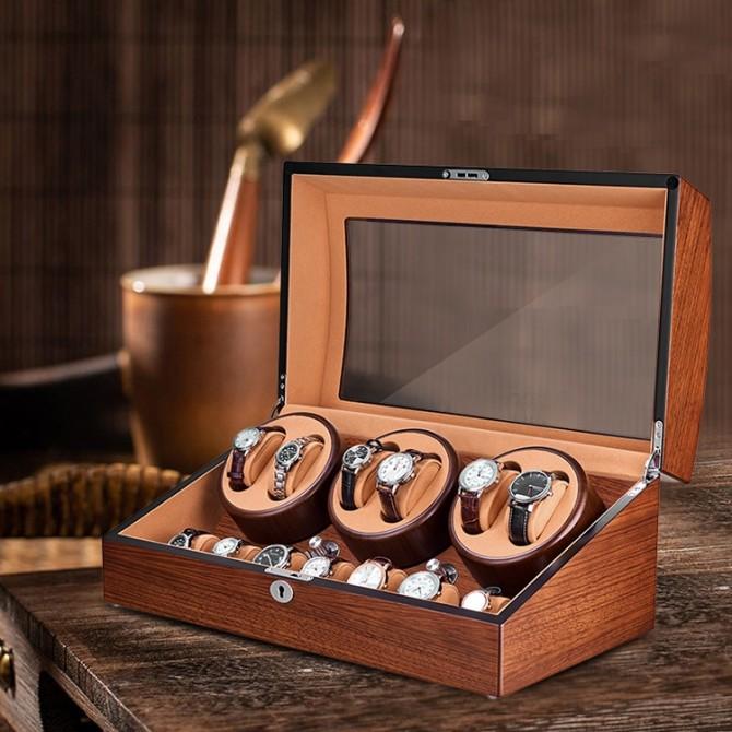 Luxury Jqueen Wooden Six Piece Watch Winder Mandshurica