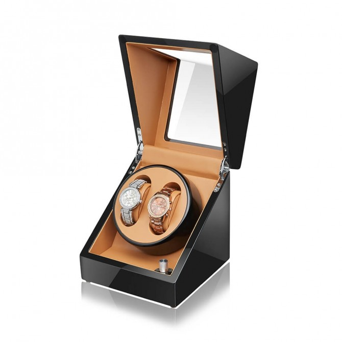 Discount Sepano Leather Double Watch Winder Black