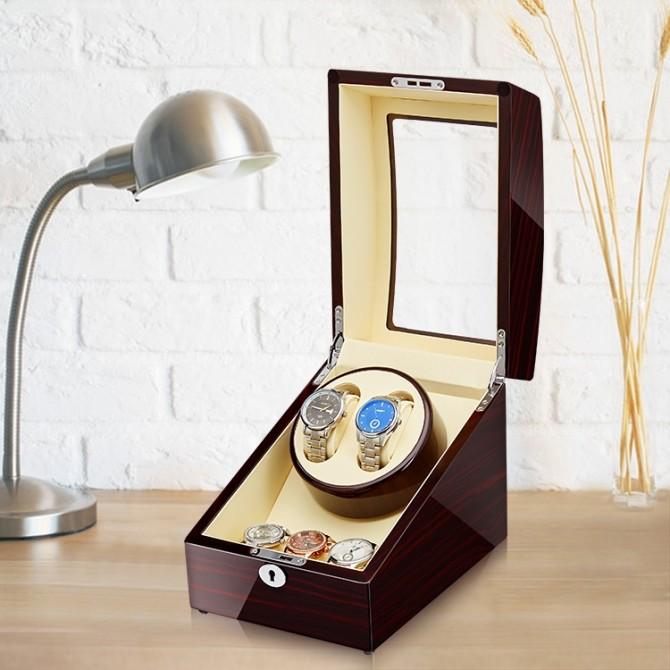 Jqueen Wooden Double Watch Winder Ebony