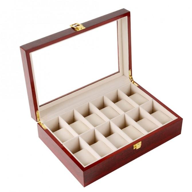 Luxury Jqueen Cherry Wooden Watch Box With 12 Slots