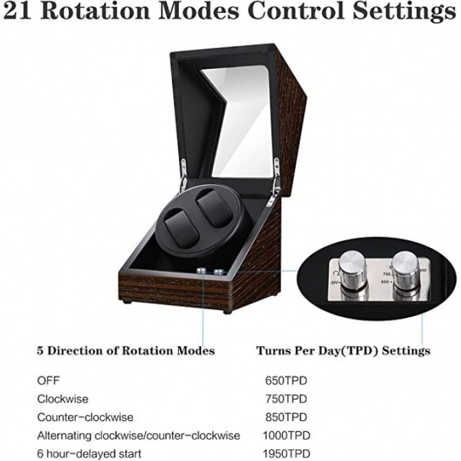 Best Maselex Automatic Watch Winder for Man/Woman's Watches-21 Rotation Modes