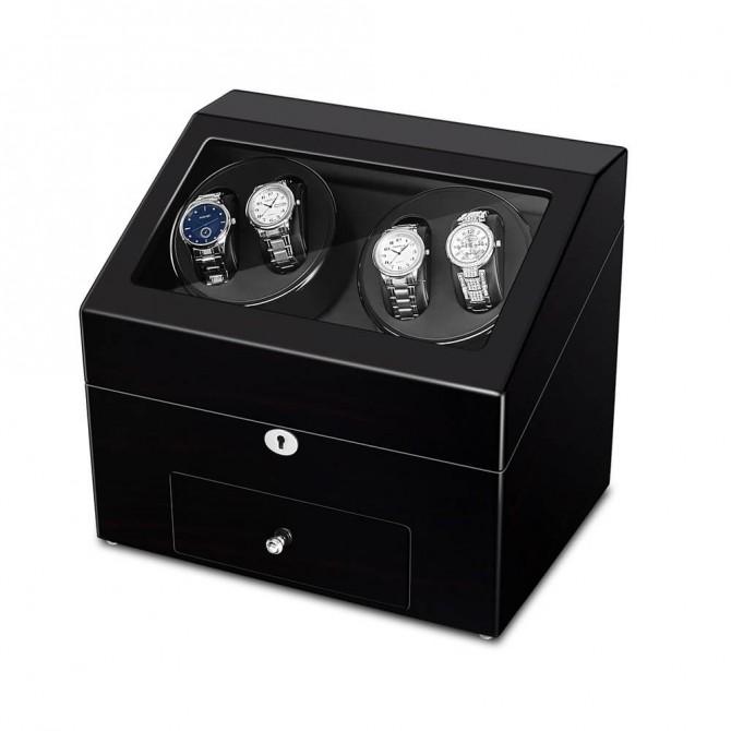Luxury Sepano Wooden Quad Watch Winder Balck