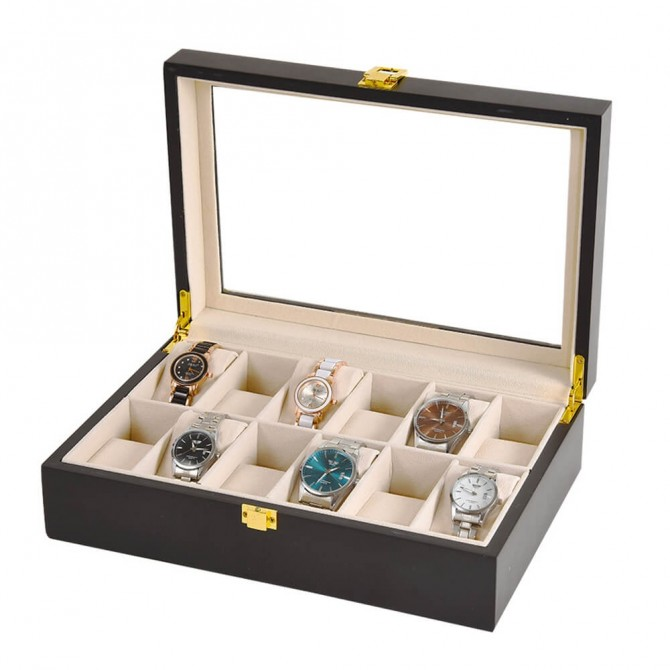 Discount Sepano Wooden Watch Box With 12 Slot Watch Case Black