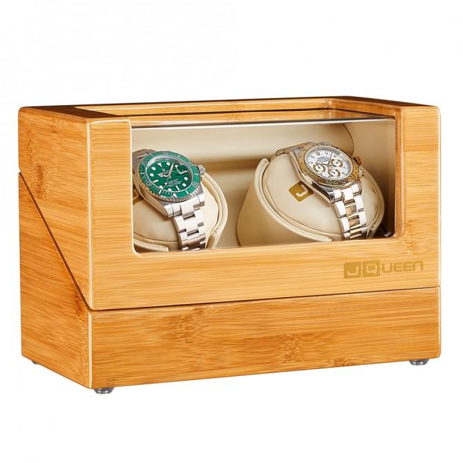 Luxury Jqueen Bamboo Double Watch Winder