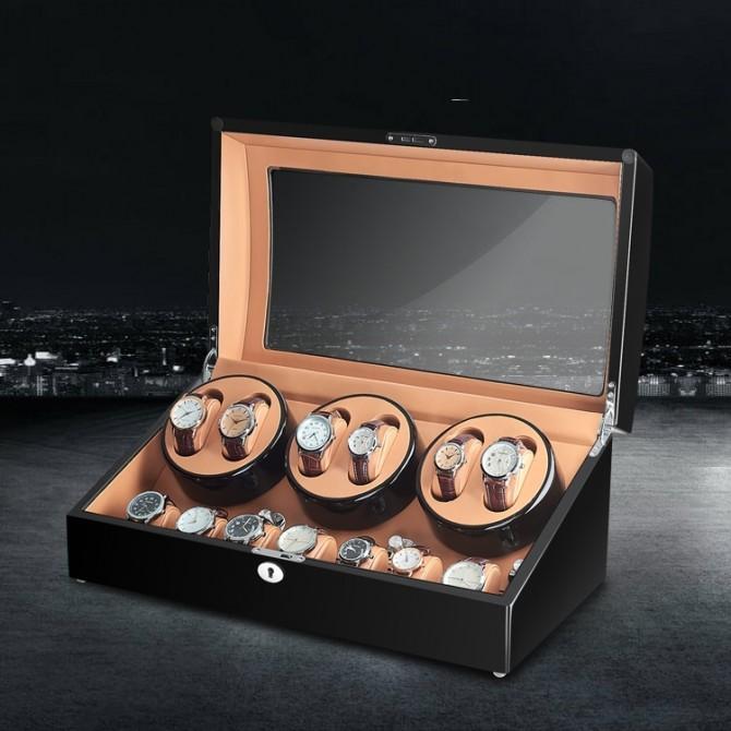 Luxury Sepano Wooden Six Piece Watch Winder Black