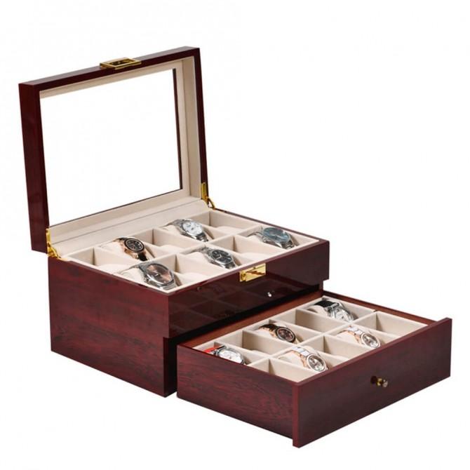Luxury Jqueen Wooden Watch Box Case & Mens Jewelry Box Organizer Red