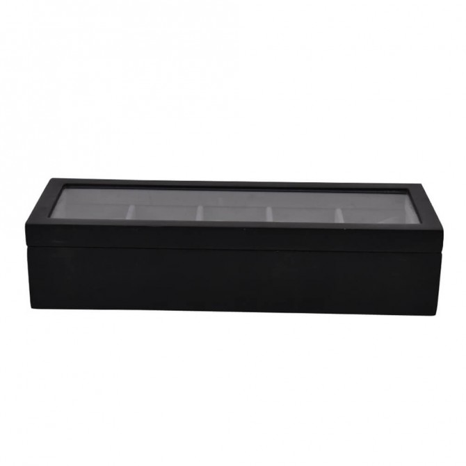 Sepano Wooden Watch Box With 5 Slots Display Case Black