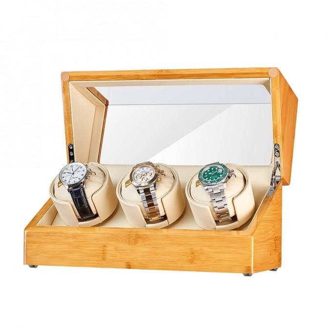 Best Jqueen Bamboo Three Watch Winder
