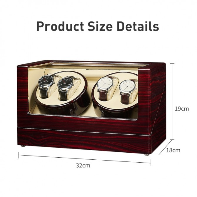 Luxury Jqueen Wooden Quad Watch Winder Ebony
