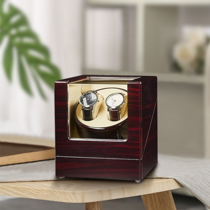 Best Jqueen Ebony Double Watch Winder Red