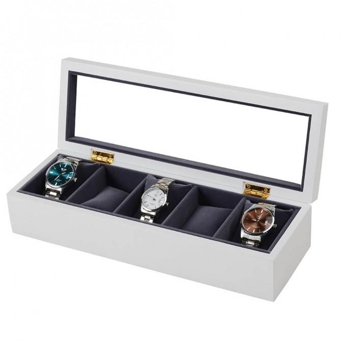 Best Jqueen Wooden Watch Case Display Storage Box With 5 Slots Display Case White