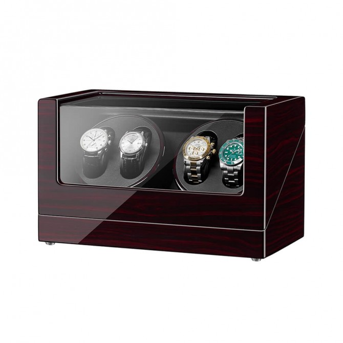 Best Jqueen Wooden Quad Watch Winder Black
