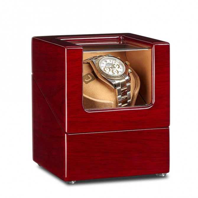 Jqueen Wooden Single Watch Winder Red Walnut