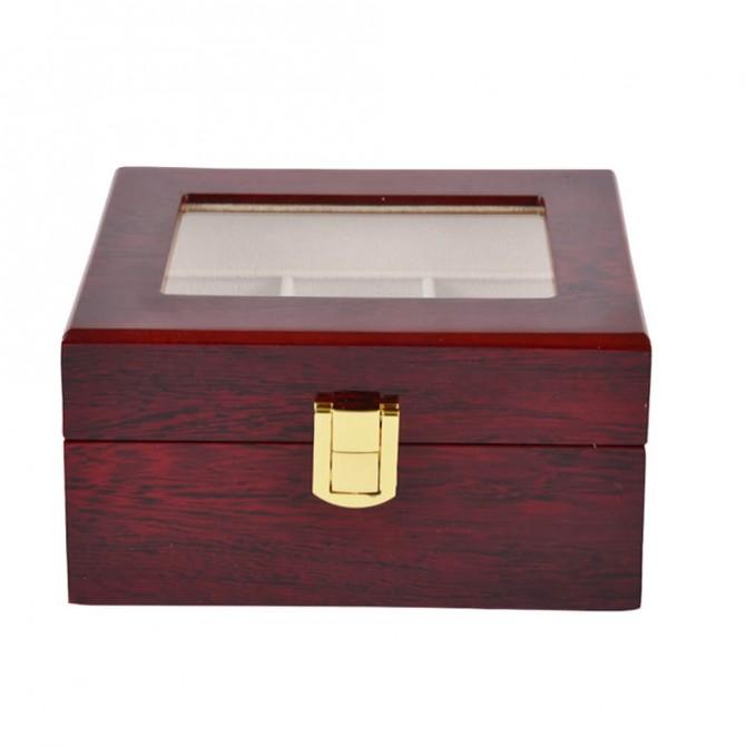 Best Jqueen Wooden Watch Organizer, 3 Slots Display Case Red