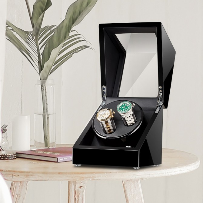 Luxury Maselex Wooden Double Watch Winder Black