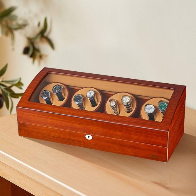 Best Jqueen Wooden Eight Piece Watch Winder Red