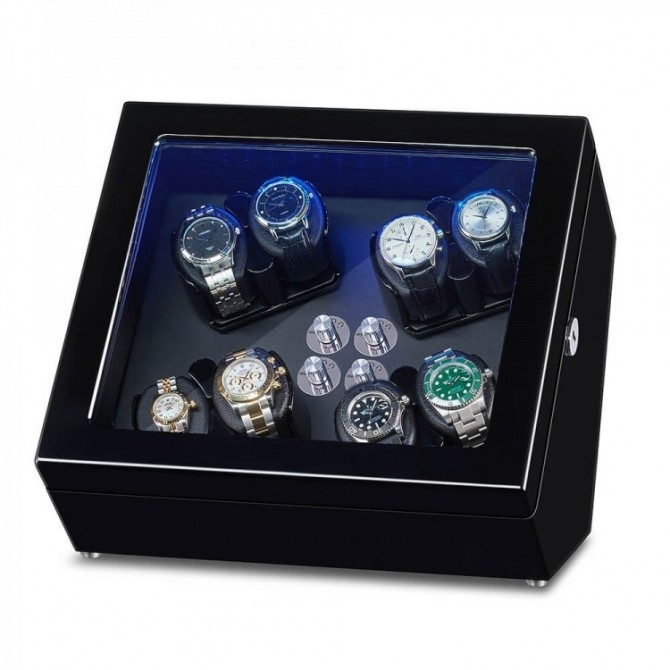 8 Watch Winder Box for 8 Winding Spaces with Built-in Illumination - Ebony