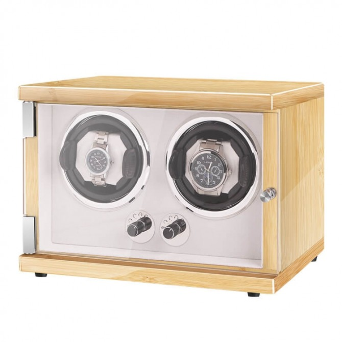 New Vertical Double Automatic Watch Winder with LED Light Hevea Brasiliensis