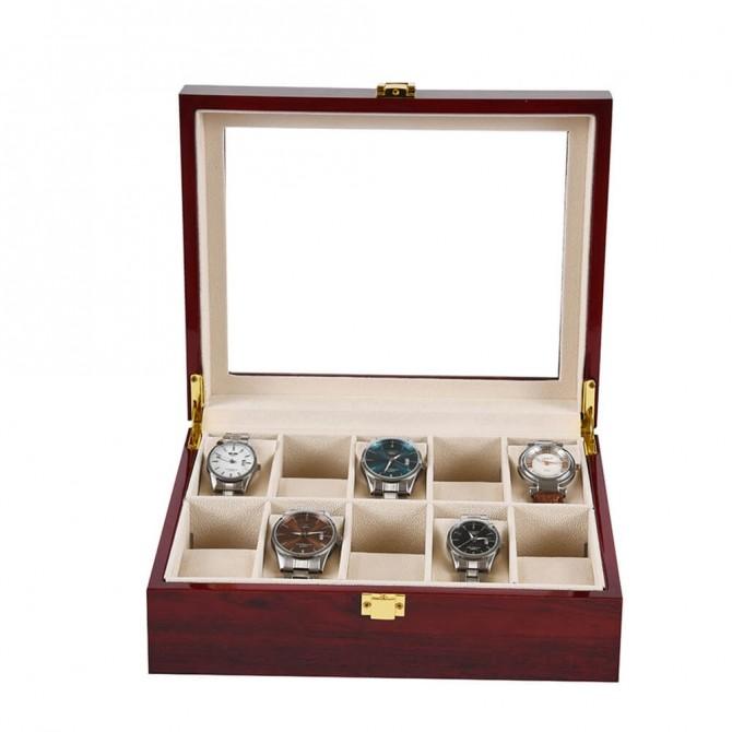 Discount Jqueen Watch Box Cherry Watch Display Case 10 Slots