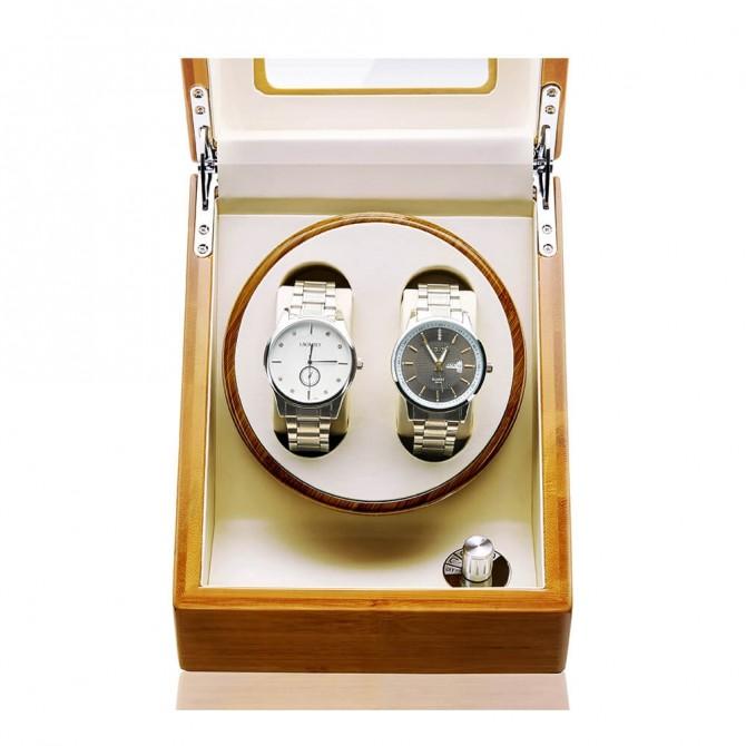 Luxury Jqueen Bamboo Double Watch Winder Yellow