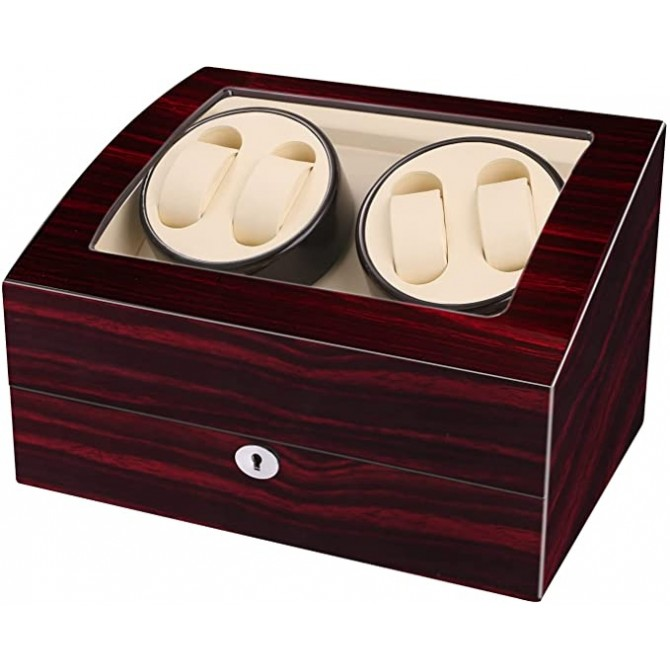 Maselex Automatic Quad Watch Winder With 6 Storage Case for Man/Woman's Watches-21 Rotation Modes