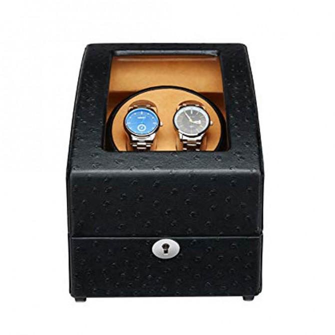 Best Maselex Leather Double Watch Winder Black