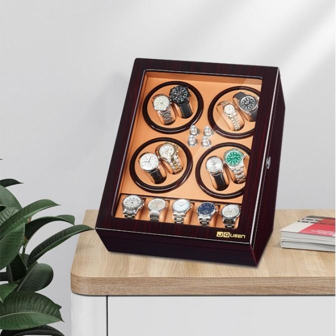 Luxury Jqueen Wooden Eight Piece Watch Winder Brown