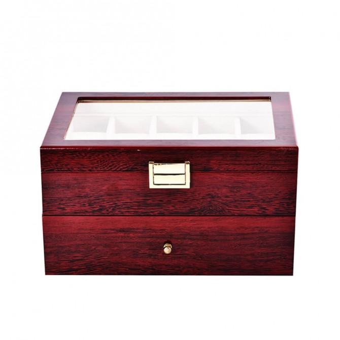 Best Jqueen Wooden Watch Case Display Storage Box Chest Holds 20 Watches
