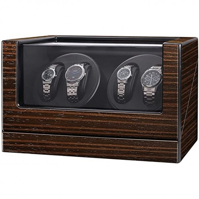 Maselex Automatic Quad Watch Winder with Flexible Watch Pillows -21 Rotation Modes