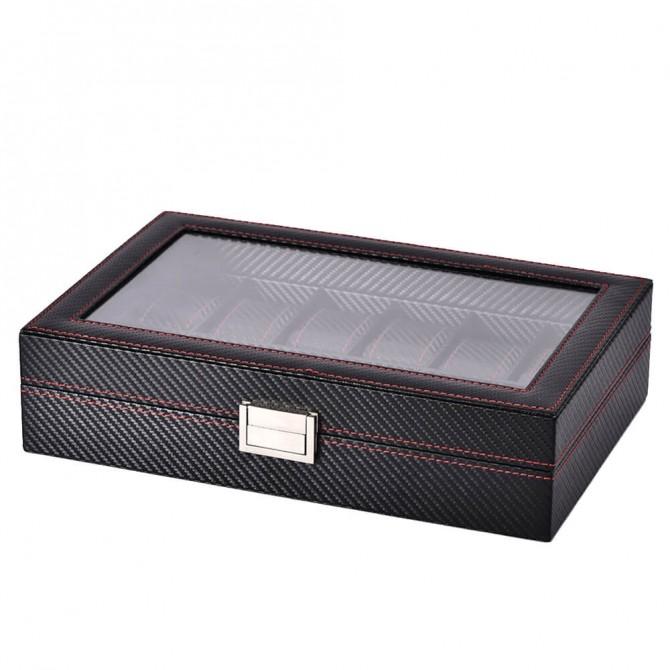 Sepano Leather Watch Box With 12 Watch Dislpay Box Organizer Black