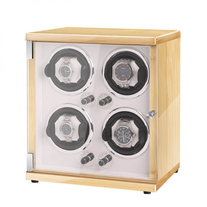 New Vertical Quad Automatic Watch Winder Box Hevea Brasiliensis