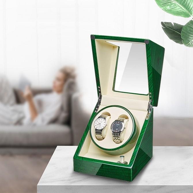 Jqueen Wooden Double Watch Winder Green