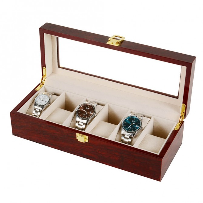Best Jqueen Wooden Watch Box With 6 Slots Display Case Red