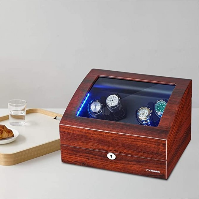 Watch Winder With Built-in Blue LED Illuminated - 21 Rotation Modes
