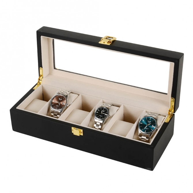 Best Sepano Wooden Watch Box for Men With 6 Slot Watch Case Black