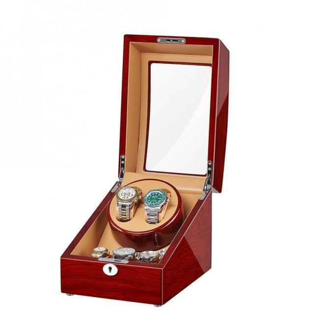 Luxury Jqueen Wooden Double Watch Winder Bubinga
