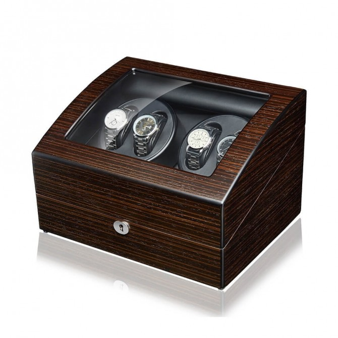 Jqueen 4 Automatic Watch Winder with 6 storages Black Ebony