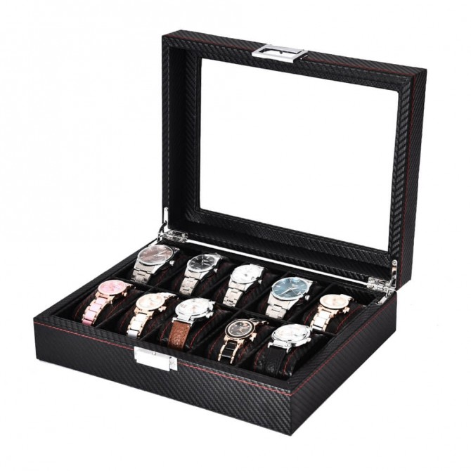 Discount Sepano Leather Watch Box With 10 Slots Display Case Black