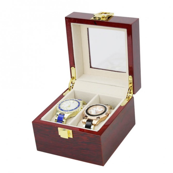 Discount Jqueen Solid Wood Watch Box Organizer with Glass Display
