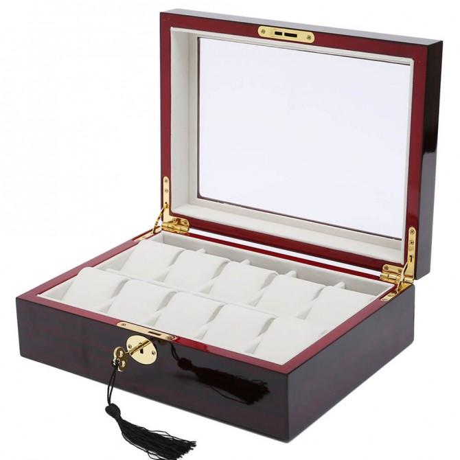 Discount Jqueen Wooden Watch Box With 10 Slot Watch Case