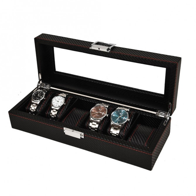Discount Sepano Leather Watch Box With 6 Slots Display Case Black