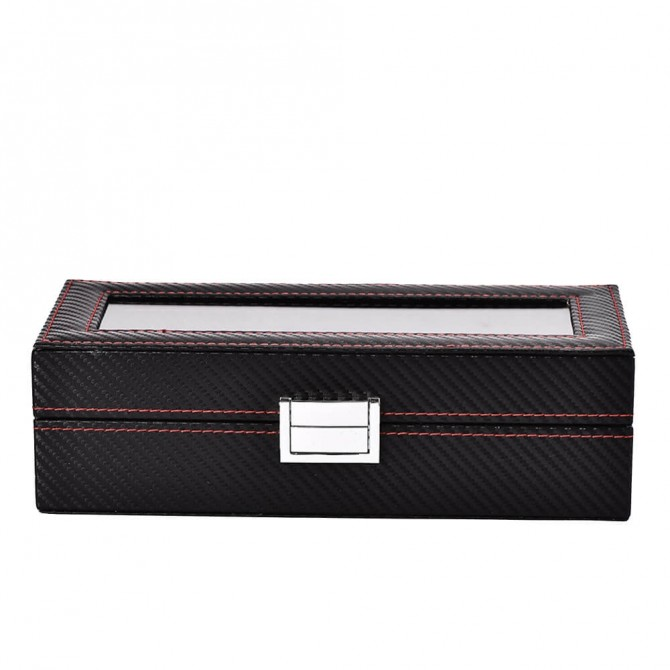 Sepano Leather Watch Box 5 Slots Storage Case with Glass Top Black