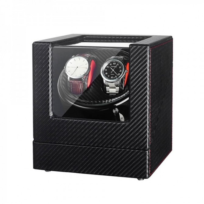 Double Watch Winder Box - Black Leather