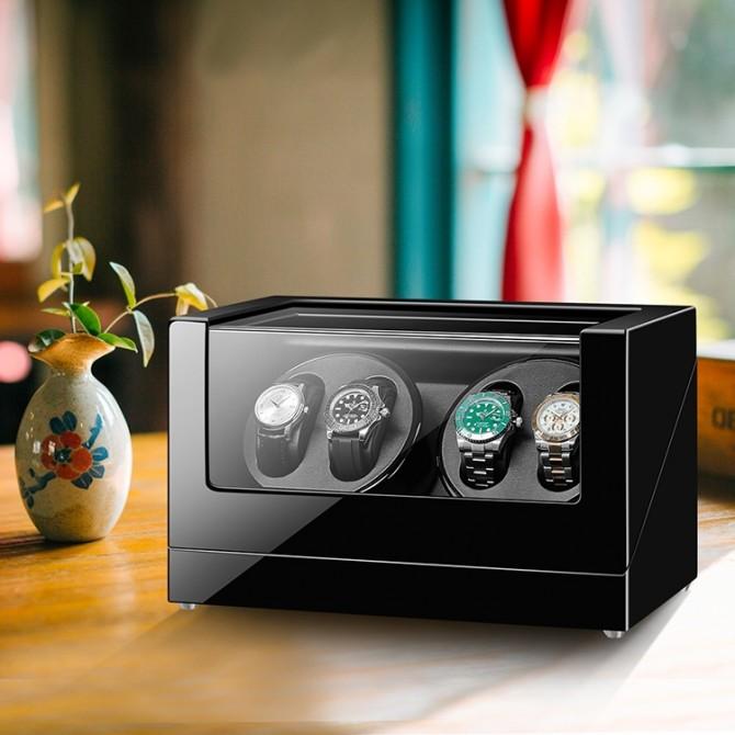 Best Sepano Wooden Quad Watch Winder Black